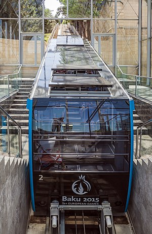The car of the Baku funicular station