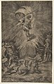 The resurrection of Christ, holding a banner in his right hand, soldiers surrounding the tomb, some falling away MET DP812424.jpg