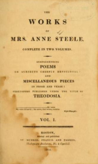 "Anne Steele - ""The works of Mrs. Anne Steele"", 1808"
