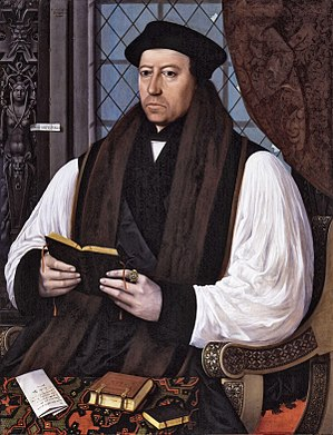 Canterbury cap - Thomas Cranmer, Archbishop of Canterbury, wearing a Canterbury cap