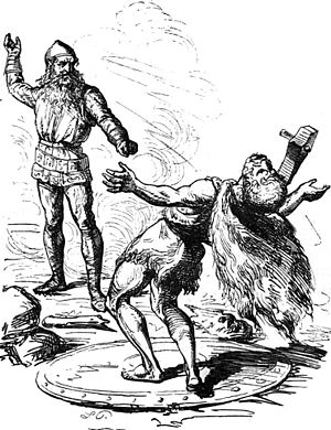 Hrungnir - Thor slays Hrungnir, illustration by Ludwig Pietsch (1865)