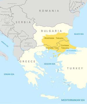 Thrace - The modern boundaries of Thrace in Bulgaria, Greece, and Turkey