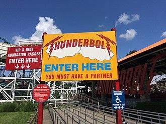 Thunderbolt (Kennywood) - Image: Thunderbolt roller coaster entrance