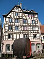 Timber framed house and giant wine barrel on Place des Tripiers, Strasbourg.jpg