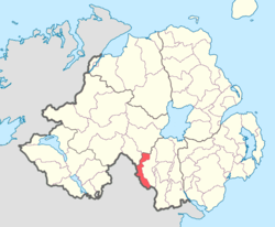 Location of Tiranny, County Armagh, Northern Ireland.