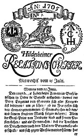 "Title page of the ""Relations Courier"" from 1705"
