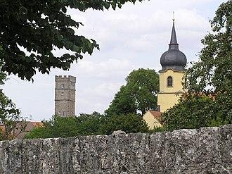 Aub - Church tower in Aub