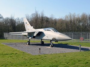 RAF Leeming - A Tornado F3 aircraft now stands as a gate guardian outside the main gate of RAF Leeming in North Yorkshire