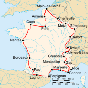Route of the 1932 Tour de FranceFollowed counterclockwise, starting in Paris