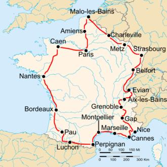 1932 Tour de France - Route of the 1932 Tour de France Followed counterclockwise, starting in Paris