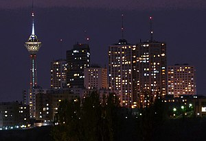 Milad Tower - Image: Towers in Tehran City at night