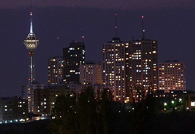 Towers in Tehran City at night.jpg