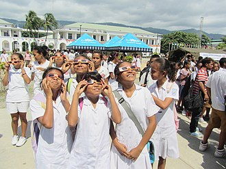 Transit of Venus, 2012 - Children in Dili observing the transit of Venus