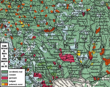 Map showing the presence of Vlachs/Romanians (blue color) even east of the Bug river and up to the Dnieper river in the 19th century Transnistia-ethnic map.JPG
