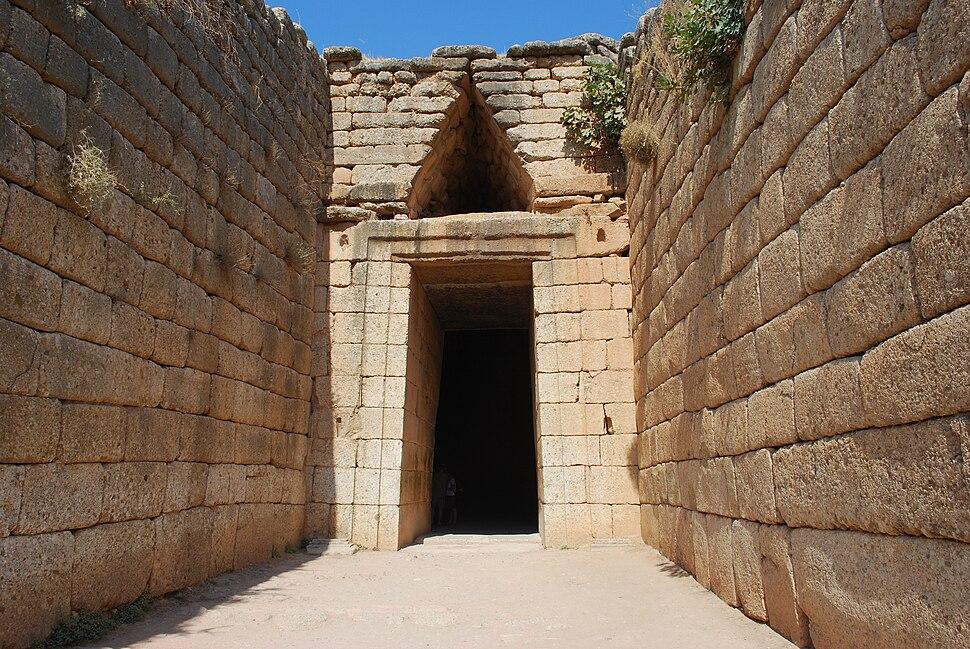 Treasury of Atreus, 13th century BC royal tholos tomb near Mycenae-exterior