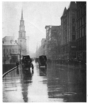 Tremont Street - Tremont Street with view of Park St. Church (1915)