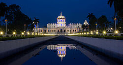 Ujjayanta Palace, which houses the Tripura Rajbari, is located in Agartala, Tripura's capital and most populous city.