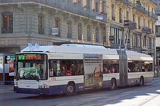 Trolleybuses in Geneva - Hess articulated no 753 at Rive, 2007.