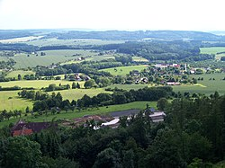 Troskovice seen from the Trosky Castle