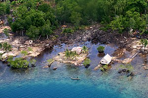 2007 Solomon Islands earthquake - Coastal damage in the Solomon Islands shows the effects of the resultant tsunami.