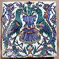 Turchia, iznik, mattonella quadrata con pappagallini, 1590-1610 ca..JPG