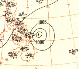 Map of a hurricane near a group of islands. The map shows isobars, or contours of barometric pressure, as lines with numbers denoting the pressure.