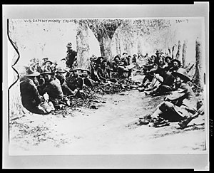 Colonia Díaz - U.S. Army Expeditionary troops of the 16th Inf. resting in Colonia Diaz, 1916.