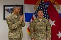 U.S. Army Maj. Gen. Stephen J. Townsend, left, the commander of Combined Joint Task Force 10 and Regional Command East, applauds Spc. Kelii Torres, a forward observer assigned to Headquarters and Headquarters 140905-A-DS387-047.jpg