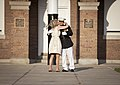 U.S. Marine Lt. Gen. George J. Flynn, Jr., right, and his wife, Sally, embrace during Lt. Gen. Flynn's retirement ceremony at Marine Barracks Washington in Washington, D.C., May 9, 2013 130509-M-KS211-257.jpg