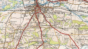 Sandleford - UK Ordnance Survey map, detail of Sandleford, 1939.