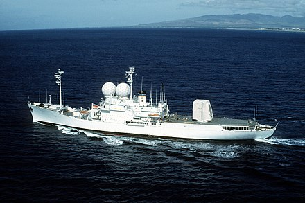 DIA sets intelligence requirements for numerous installations, such as T-AGM-23, which checks compliance with strategic arms treaties worldwide. USNS OBSERVATION ISLAND (T-AGM 23) underway near Hawaii.jpg