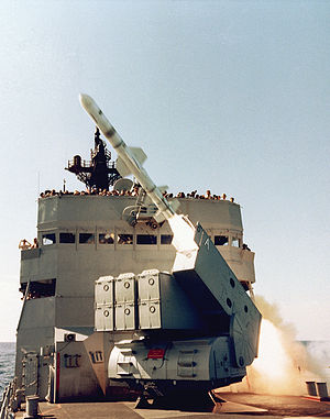 USS Badger (FF-1071) - Badger test-firing a Harpoon anti-shipping missile in 1980.
