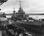 USS McDougal (DD-358) pulls alongside HMS Prince of Wales (53) in Placentia Bay, Newfoundland, 10 August 1941 (80-G-26921).jpg