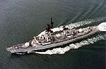 USS Richard E. Byrd (DDG-23) underway in the Atlantic Ocean, in 1983 (6378800).jpeg