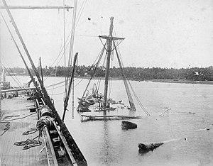 USS Vandalia (1876) - A view of the sunken USS Vandalia from the deck of USS Trenton, March 1889.