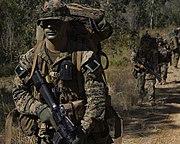 Marines wearing woodland MARPAT during Exercise Talisman Saber 2007 at Shoalwater Bay, Australia.