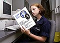 US Navy 030618-N-6920A-001 Seaman Kandis Barott reads up on the College-Level Examination Program (CLEP).jpg