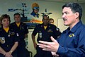 US Navy 050203-N-1539M-006 Master Chief Petty Officer of the Navy (MCPON) Terry D. Scott answers questions from members of the Blue Angels maintenance team.jpg