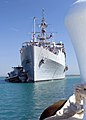US Navy 050510-N-2903M-001 The amphibious transport dock ship USS Austin (LPD 4), is gently maneuvered into a pier at Naval Station Guantanamo Bay, Cuba.jpg