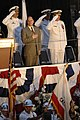 US Navy 070515-N-3642E-188 The Secretary of the Navy (SECNAV), the Honorable Dr. Donald C. Winter, covers his heart during the national anthem at the christening ceremony of USNS Richard E. Byrd (T-AKE 4).jpg