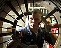 US Navy 071112-N-1598C-011 Aviation Machinist's Mate 3rd Class Dustin Sharp inspects the afterburner spray bars of an F-A-18F Super Hornet in the jet shop aboard the nuclear-powered aircraft carrier USS Enterprise (CVN 65).jpg