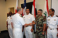 US Navy 080617-N-9116F-001 Chief of Naval Operations (CNO) Adm. Gary Roughead shakes hands with Lebanese Navy 1st Lt. Afif Gaith, a student at the International Surface Warfare Officers School during a recent visit.jpg