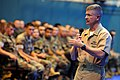 US Navy 090630-N-9818V-068 Master Chief Petty Officer of the Navy (MCPON) Rick West takes questions during an all-hands call from Seabees and Sailors assigned to Patrol Squadron (VP) 45.jpg