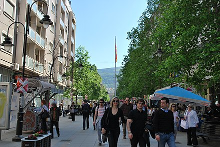 People on Macedonia street, the main pedestrian axis of the city. Ulica Makedonija.JPG
