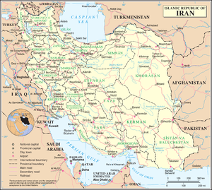 An enlargeable map of the Islamic Republic of Iran