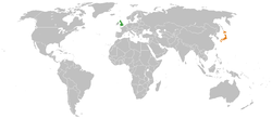 Map indicating locations of United Kingdom and Japan