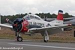 United States Air Force T-28 Trojan warbirds (55-138354) at Kleine Brogel Air Base in 2013.jpg