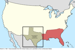 Map of the change to the international disputes involving the United States in central North America on March 2, 1861