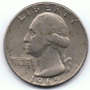 Coinage Act of 1965 - A clad 1965 quarter, worn by years of circulation