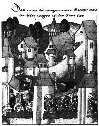 Untertorbrücke - The bridge as depicted in a 1477 chronicle. The piers are complete, but the roadbed is still wooden.